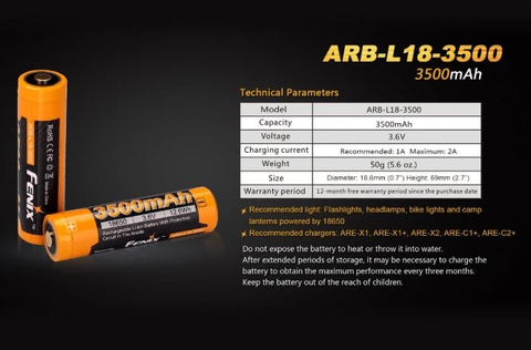 Fenix ARB-L18-3500 Rechargeable 18650 Battery