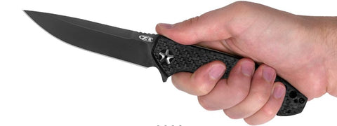 Zero Tolerance 0452GL Sprint Run Carbon Fiber Front Glowing Scale S35VN, Black DLC Coating