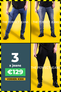 3 x Die Perfekte Jeans: Denim Blue + Black + Grey