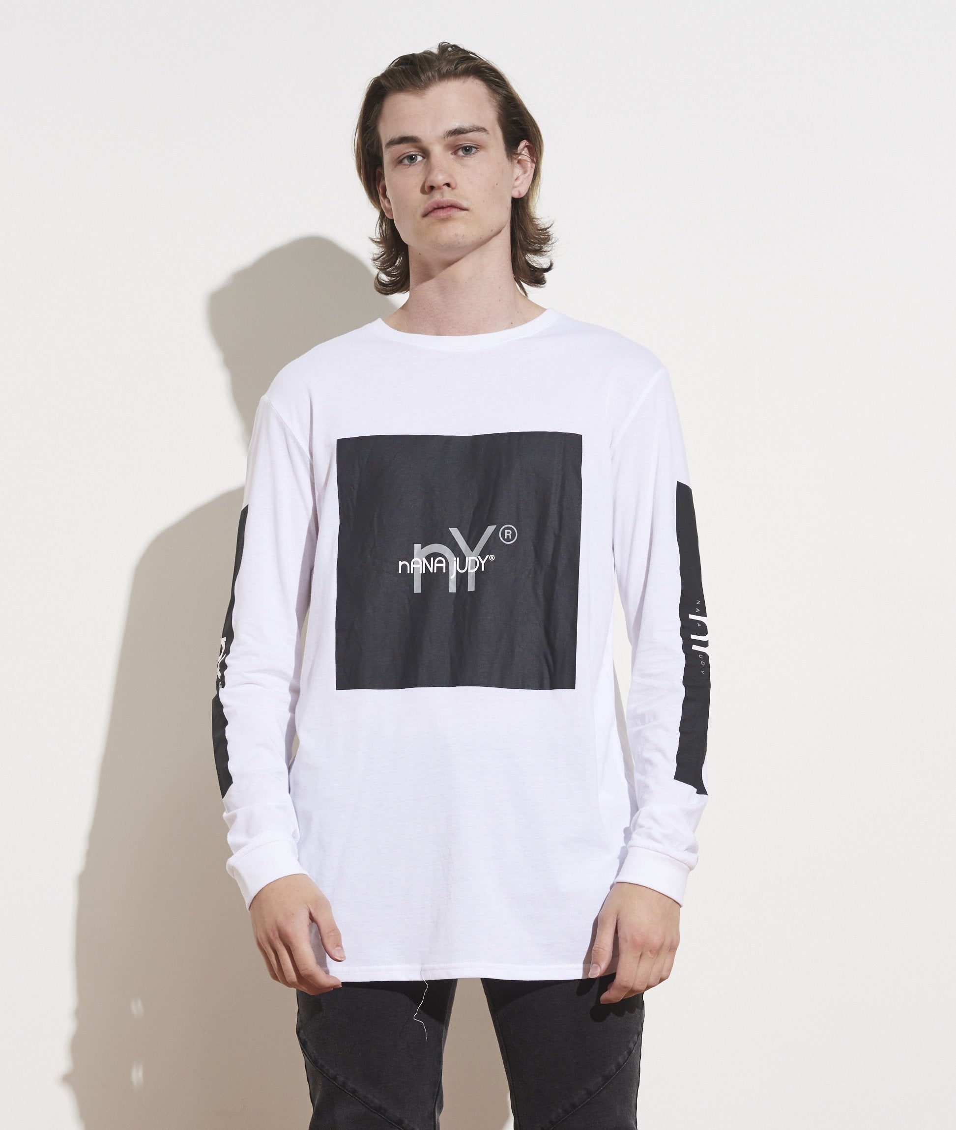 long sleeve jersey tee white