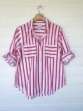 Cotton Poplin Boyfriend Shirt - Raspberry Stripe
