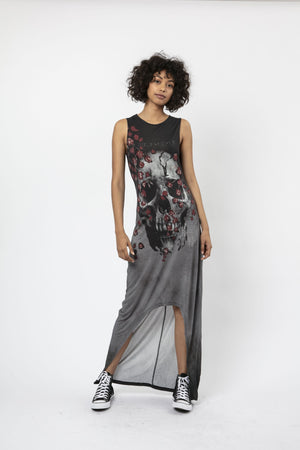 sleeveless dress with flattering cross back and skull graphics