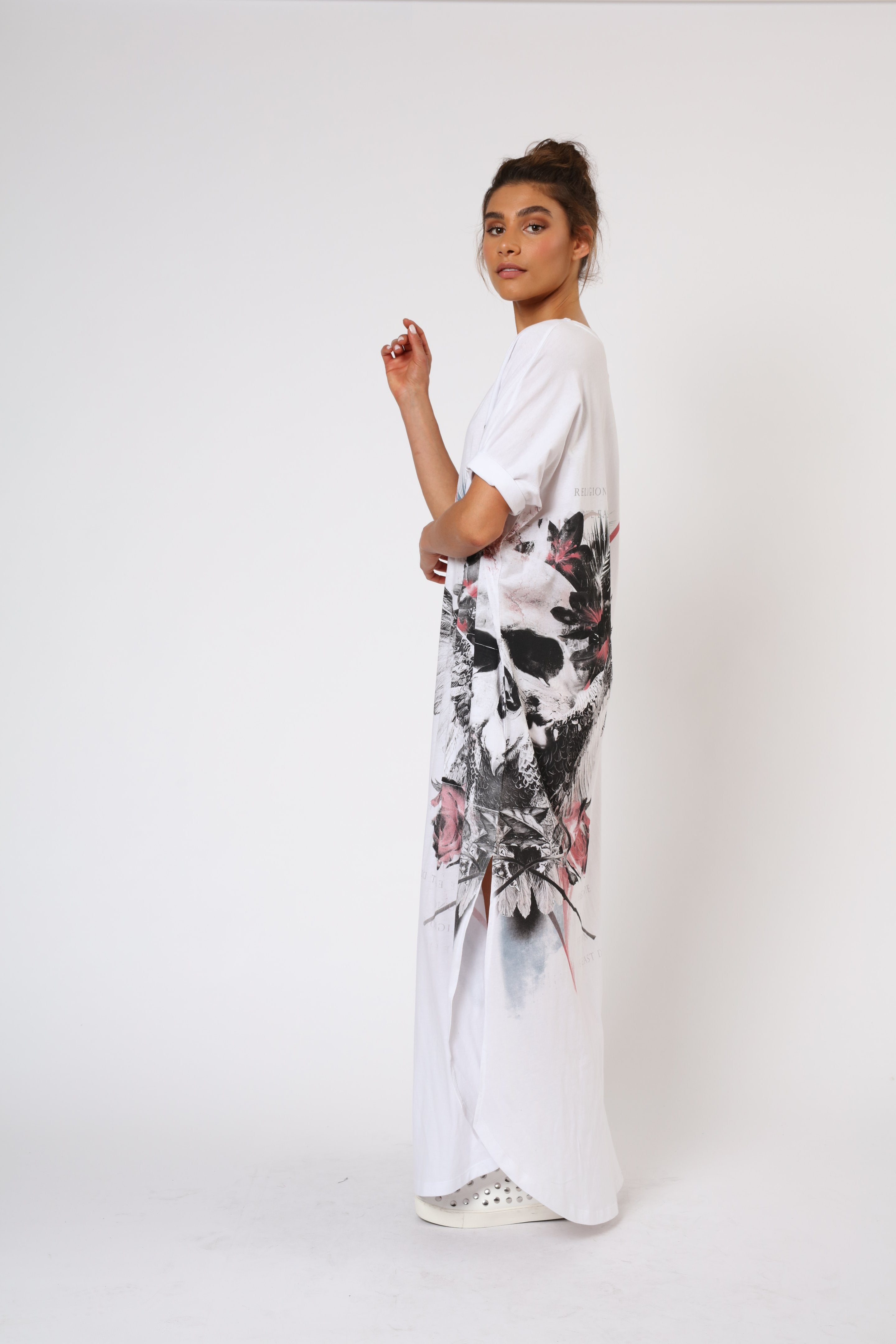 white cotton jersey long dress side seam, skull wings graphic