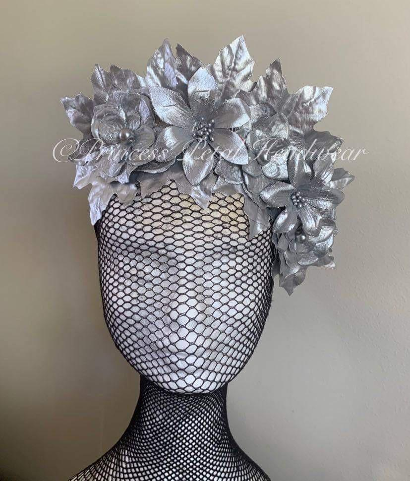 Silver Floral Crown Fascinator