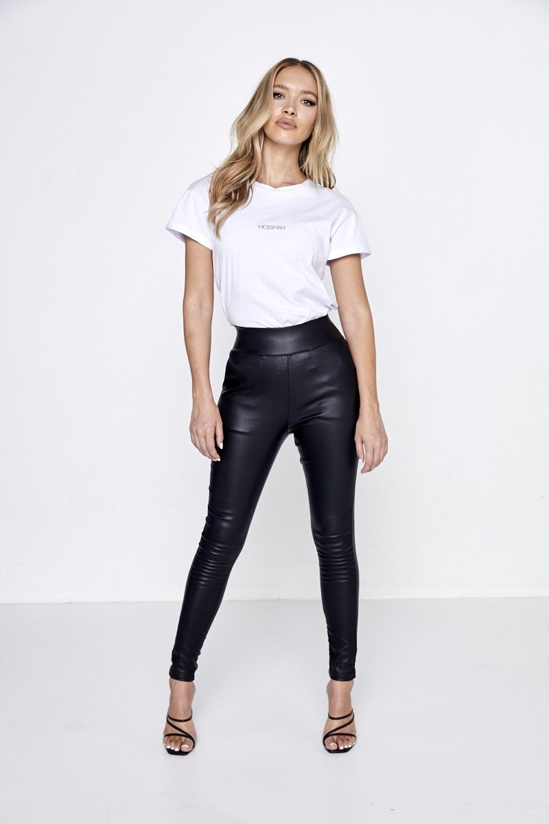 high waisted leather look pant