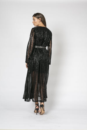 Dress, fully sequined with plunging v-neck and longsleeves
