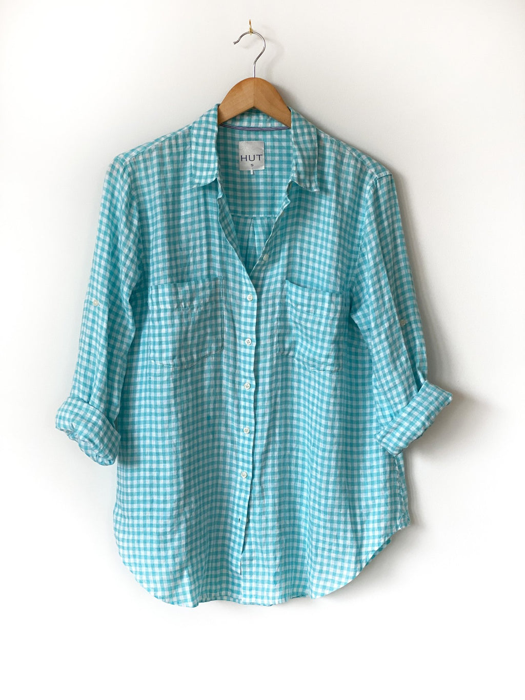 Mint Gingham Boyfriend Linen Shirt