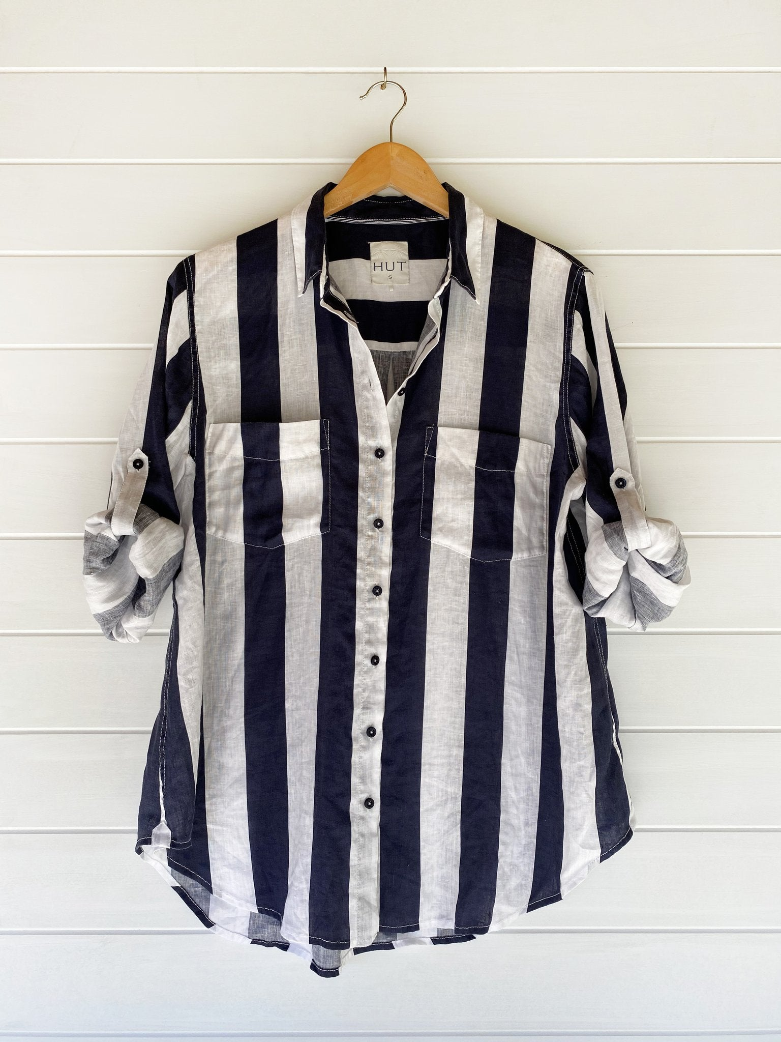 Boyfriend Shirt Wide Navy Stripe