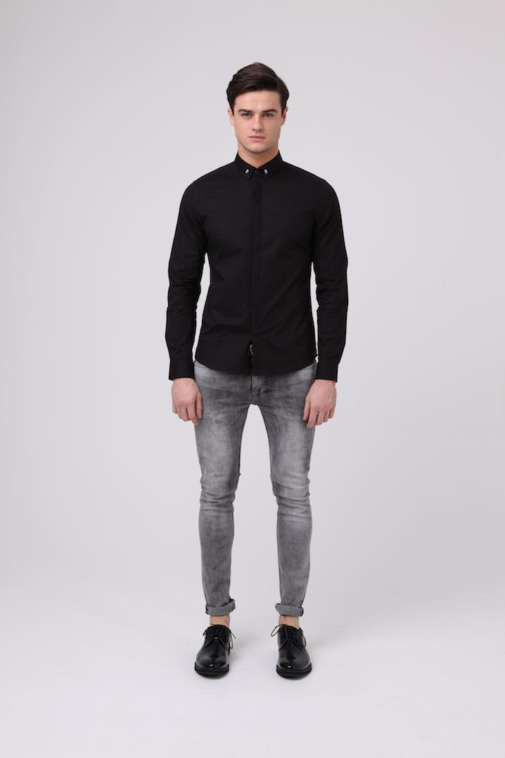 button down collar 'Skull Shirt' black
