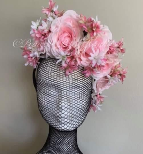 Pink & White Floral Crown Fascinator