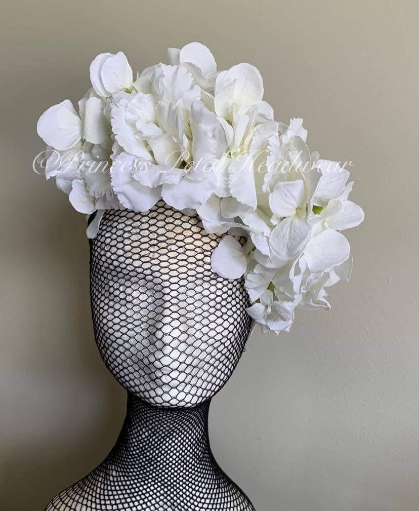 White Floral Crown Fascinator