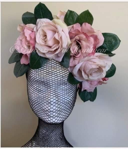 Pink & Folage Crown Floral Fascinator