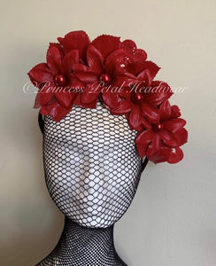 Red Floral Crown Fascinator