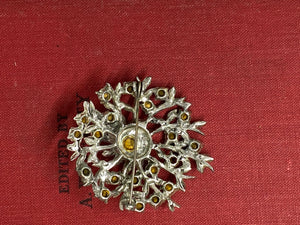 Rhinestone flower brooch