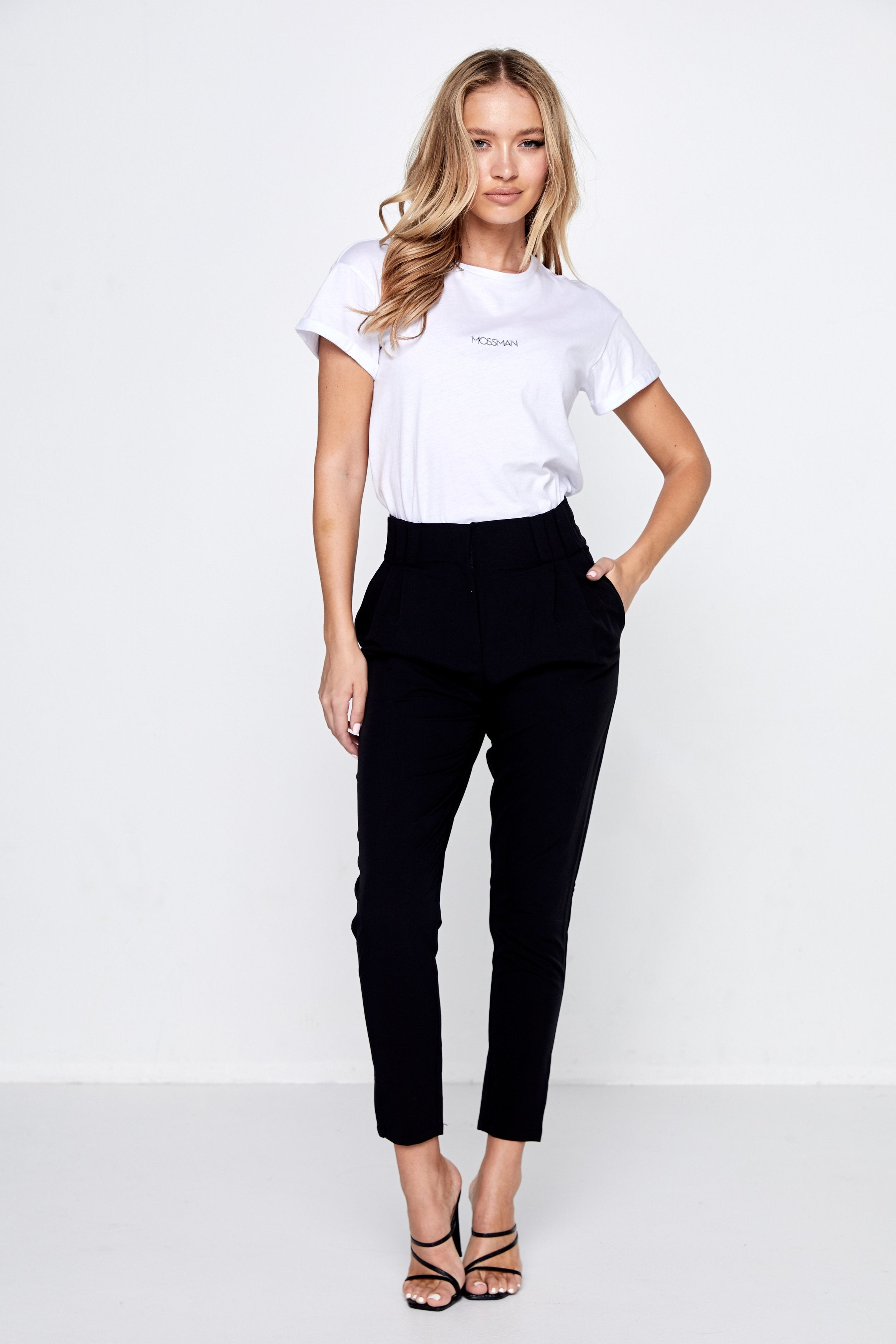 trans-seasonal pant with tapered leg, high-waist, black