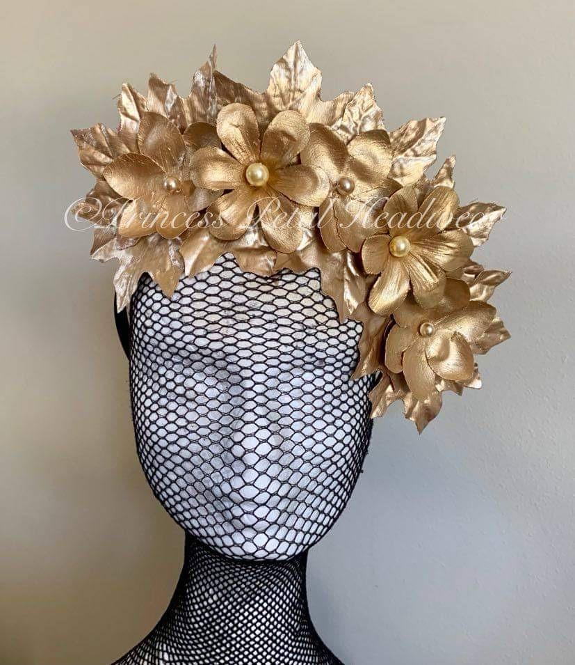 Gold Floral Crown Fascinator