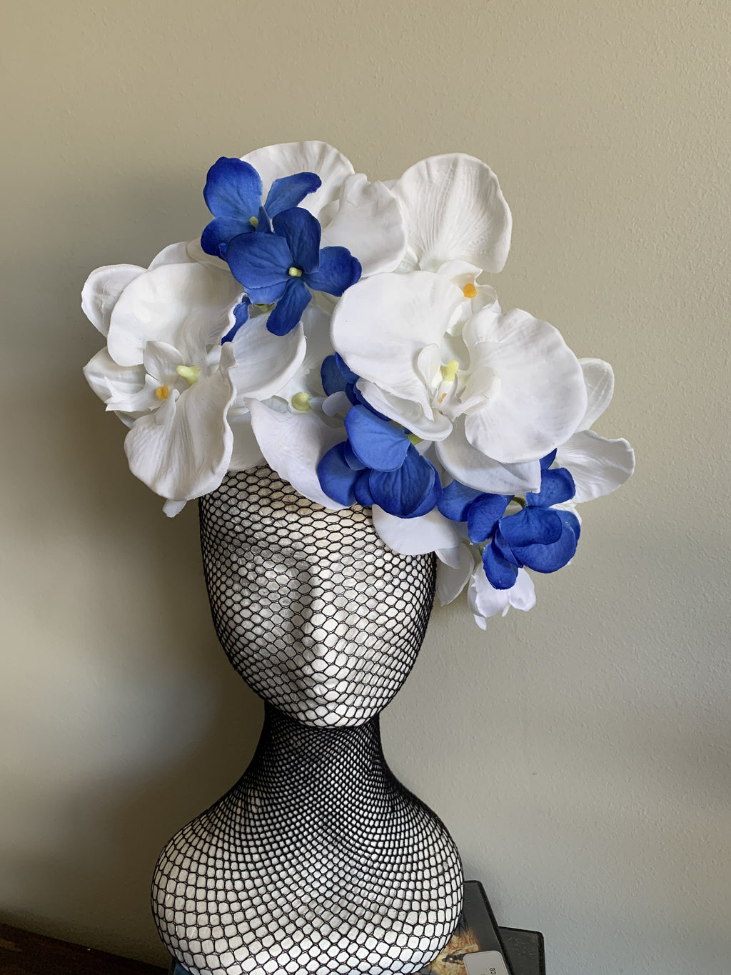 Blue & White Orchid Fascinator