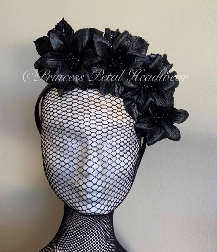 Black Floral Crown Fascinator