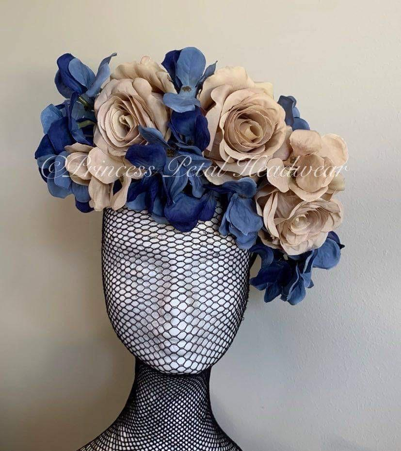 Blue & Beige Floral Crown Fascinator
