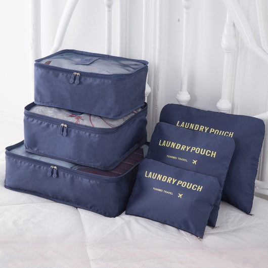 6pcs Polyester Packing Cube Women Travel Bag