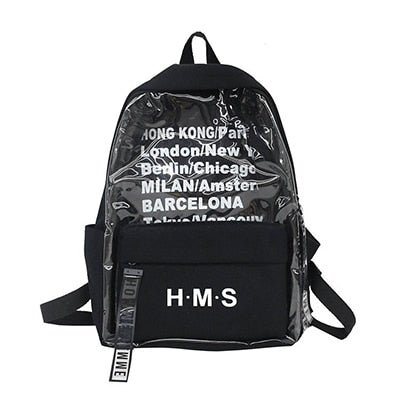 Harajuku Clear Canvas Letter Women Backpacks School Bags For Teenage Girls Female Quality Travel Backpack Bookbag Mochila