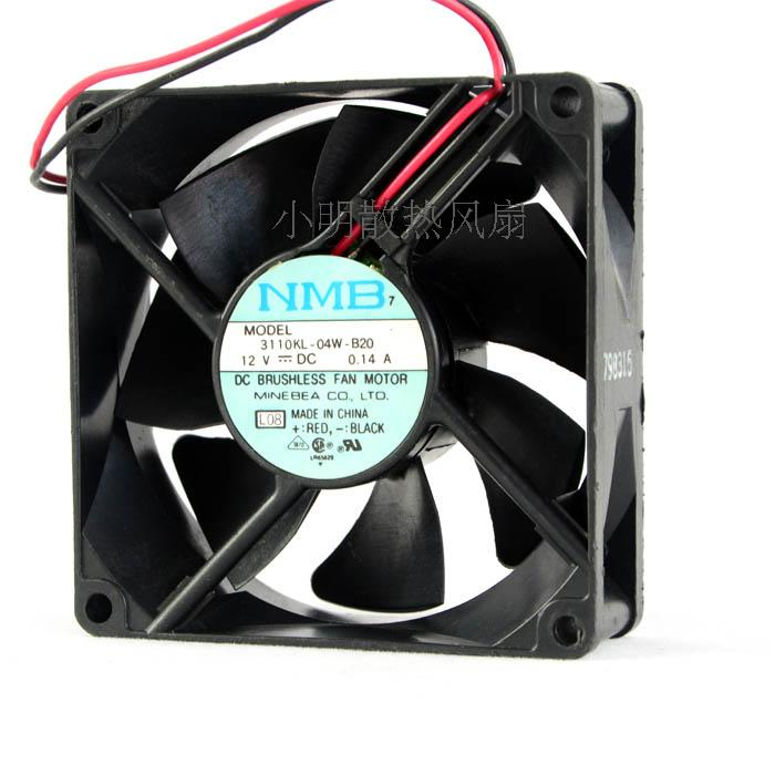 For original authentic NMB 3110KL-04W-B20 8025 12V 0.14A 2-wire double ball cooling fan - ebowsos