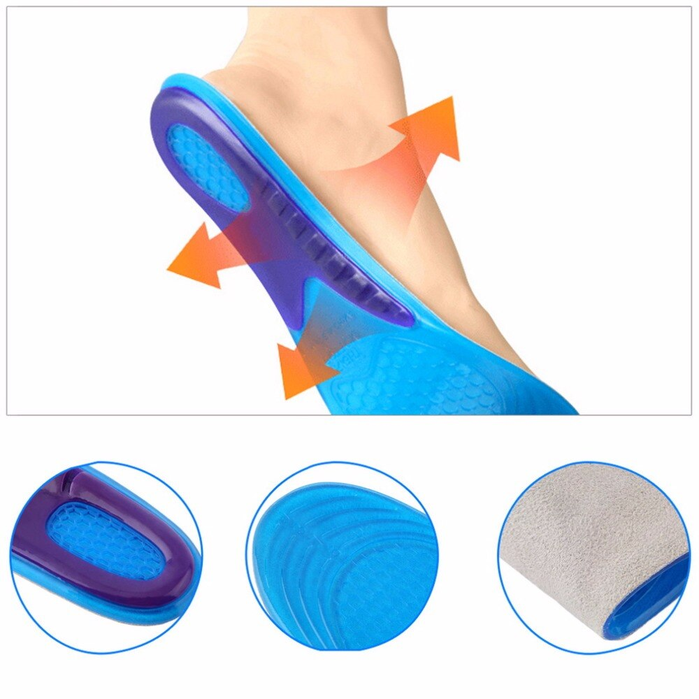 1 pair Shock-absorbent Women Sports Massaging Breathable Silicone Gel Foot Insoles Arch Support Orthopedic Plantar Fasciitis S/L - ebowsos