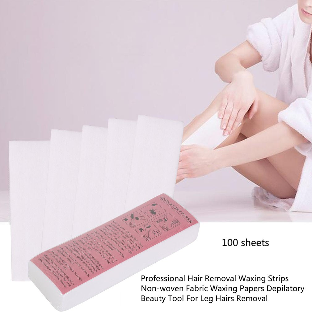 100pcs Bag Professional Hair Removal Waxing Strips Non Woven