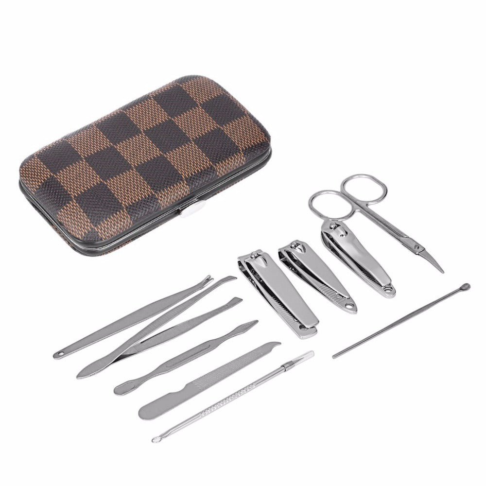 10PCS/Set Stainless Steel Universal Home Office Manicure Set Nail Clippers Cleaner Grooming Kit Nail Care Nail Art Tool Sets - ebowsos
