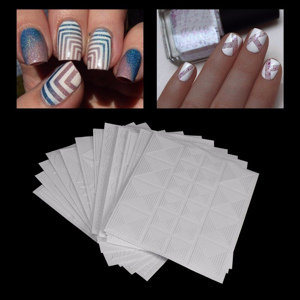 12 Styles/set Beautiful Manicure DIY Hollow Nail Art Form Fringe Guides Sticker Stencil Nail Tools Fashion Decoration - ebowsos