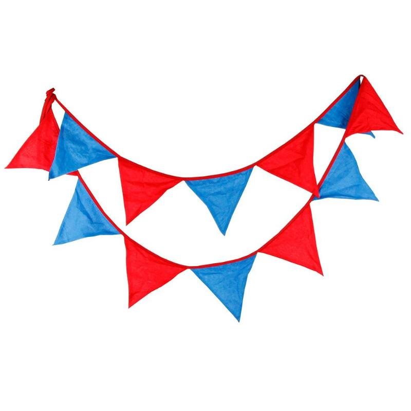 12-side Superman Triangular Flag Bunting Banners Pennant Wedding Home Decor - ebowsos
