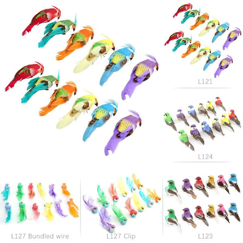 12pcs/set Artificial Foam Feather Lifelike Simulated Birds DIY Party Crafts for Home Decoration Festive Decoration Store - ebowsos