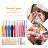 14pcs Aluminum Crochet Hooks Set TPR Easy to Use Smooth Touch Easy Operate Soft Handles Knitting Weaving Needles Kit - ebowsos