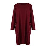 Women Casual Loose Dress with Pocket Ladies Fashion O Neck Long Tops Female T Shirt Dress Streetwear Plus Size 5XL vestidos-ebowsos