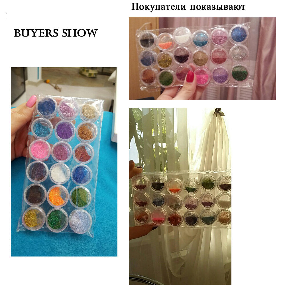 18 Colors Nail Art Glitter Powder Dust Decoration kit For Acrylic Tips UV Gel DIY Drop Shipping Wholesale Nail Glitter - ebowsos