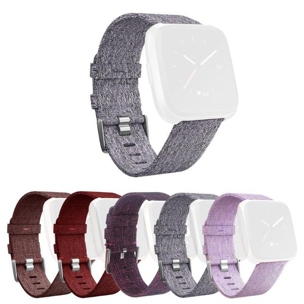 1Pcs Canvas Bracelet Watch Band Wrist Strap with Buckle Connector for  Fitbit Versa Smart Watch High Quality Smart Accessories