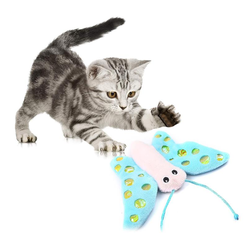 1pc Cute Cat Interactive Toy With Catnip Funny Plush Butterfly Shape Cat Toy Pet Teaser Toys For Kitten Pet Supplies Cat Favors-ebowsos