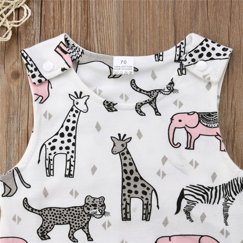 385a1bd2c8ec6 New Newborn Toddler Baby Girl Boy Animals ZOO Print Sleeveless Romper  Jumpsuit Outfit Cute Summer Clothes
