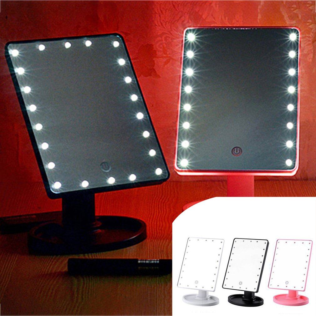 22 LEDs Mirror LED Makeup Vanity Square Mirror Double-Sided Lighted Mirrors for Bathroom Bedroom USB Type - ebowsos