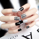 24Pcs Women Fake Nails Beauty Nail Art Sticker Tips False Nails DIY Manicure Kit Finished Nails Tools Easy To Use - ebowsos