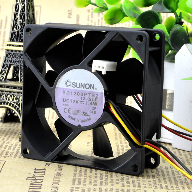 For SUNON Jianzhan KD1208PTB2 12V 1.4W 8025 8CM chassis mute 3 line cooling fan - ebowsos