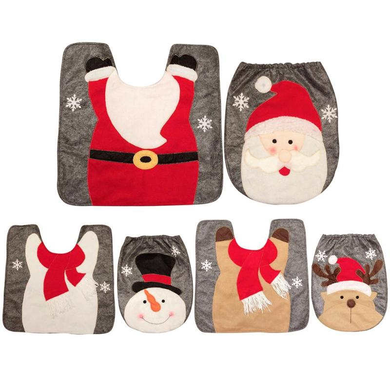 2pcs Christmas Non Slip Mat Carpet Bathroom Toilet Seat Cover Home Decor - ebowsos