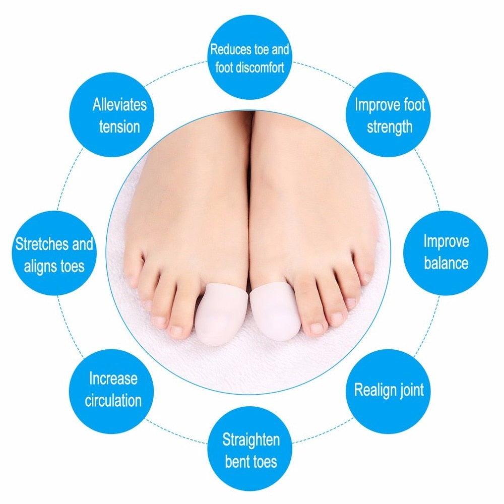 2pcs Silicone Gel Toe Tube Toe Caps Toe Cushions Foot Corns Remover Finger Toe Protect Body Massager Insoles Health Care - ebowsos