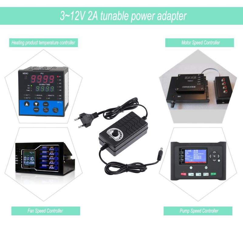 3-12V 2A AC/DC Adapter Voltage Adjustable Power Supply Charging Adaptor for Motor Speed Light Temperature Controller - ebowsos