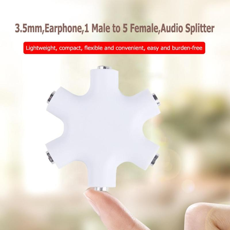 3.5mm Earphone Headphone Audio Splitter 1 Male to 5 Female Port Cable Adapter Converter Connector High Quality Audio Splitter - ebowsos