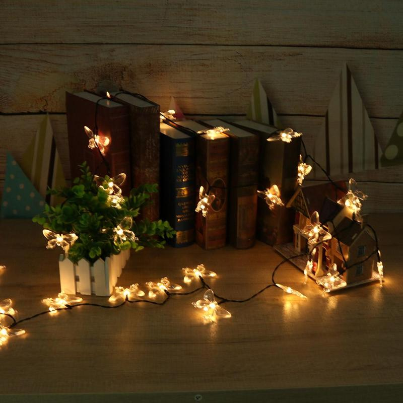 30/50pcs LED Butterfly Shaped Solar String Lights Wedding Party Decor Lamps - ebowsos