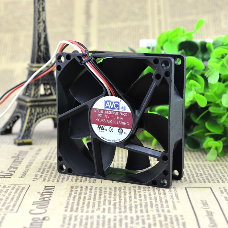 For AVC 8025 high air volume 12V chassis fan 0.5A magnetic suspension 3 line DL08025R12U-S01 - ebowsos