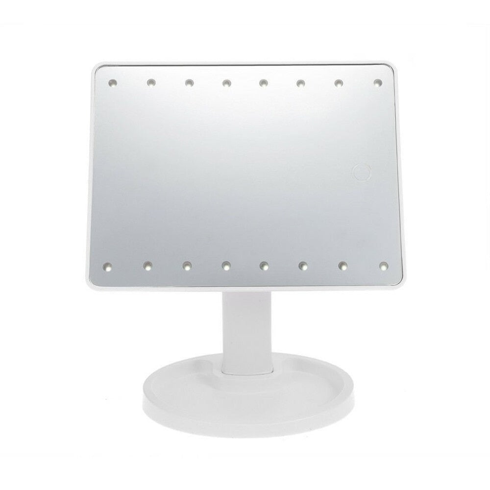 360degree Rotating LED Touch Screen Large Makeup Mirror Desktop Mirror With16 /22 LED Lights Adjustable Nice Appearance - ebowsos