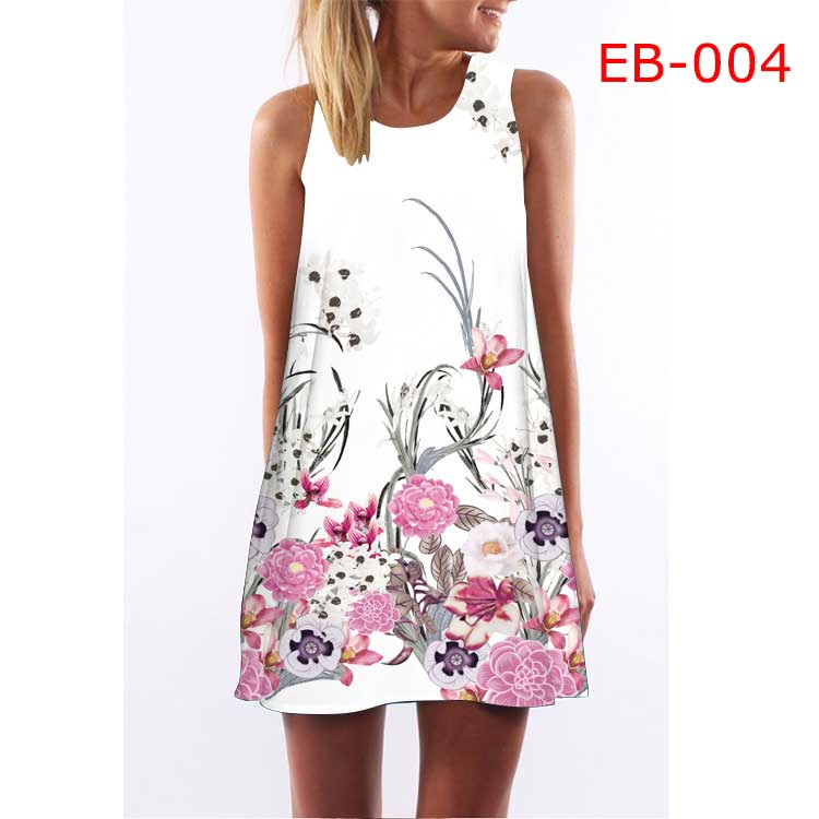 New Arrival Women Dress Rose Print Sleeveless Summer Dress O neck Casual Loose Mini Chiffon Dresses - ebowsos