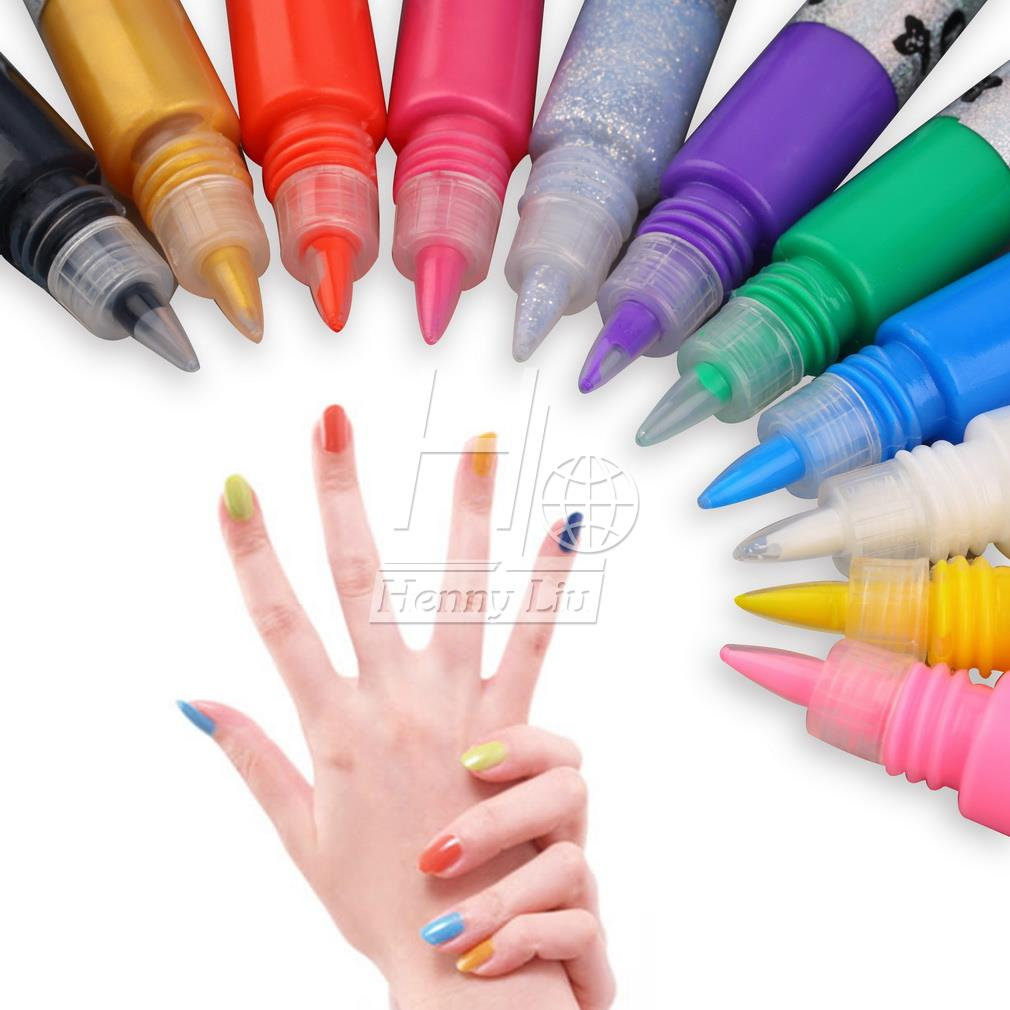 3D Nail Art Polish Painted Pen Liner Painting Pen Carved Pen Kit Set 12 Candy color Nail Art Accessories Drop Shipping Wholesale - ebowsos
